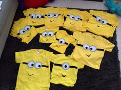 DIY minion t-shirts. Eyes and goggles made of felt and fabric glue. Black paint for mouth.