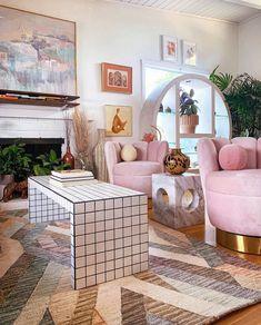 Pastel Room, Pastel House, Pastel Decor, Interior Pastel, Retro Interior Design, Room Ideas Bedroom, Bedroom Decor, Retro Bedrooms, Retro Living Rooms