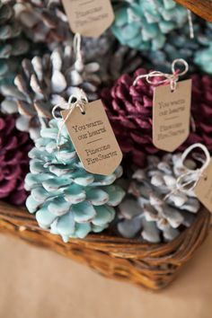 DIY pine cone firestarters with tags @myweddingdotcom