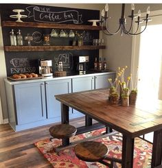 open shelving, sideboard, chalkbaord wall