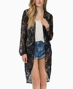 $16, ChicNova Transparent Long Sleeves Lace Kimono. Sold by ChicNova. Click for more info: https://lookastic.com/women/shop_items/121577/redirect