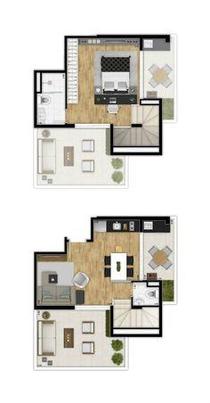Casa Loft, Loft House, Sims House, House Floor Design, Small House Design, Micro Apartment, Tiny Apartments, Modern House Plans, Small House Plans