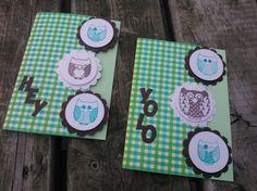 Uilen stempelkaartjes met knutselpapier van Hema
