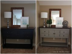 Using Annie Sloan chalk paint to change the look of existing furniture - color shown in the 'after' is French Linen