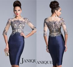 Elegant 2014 JANIQUE With Beaded Satin Sheath Three Quarter Sleeve Mother of the Bride Dresses Evening Gown Knee-Length MD35 $164.99