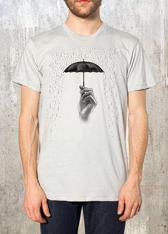 Camiseta hombres-ilustración de mano paraguas con lluvia - American Apparel - disponible en S, M, L, XL y 2XL