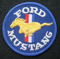 FORD MUSTANG EMBROIDERED SEW ON PATCH HORSE LOGO MUSCLE CAR UNIFORM COMPANY #FORDMUSTANGCARUNIFORMSHIRTJACKETHAT