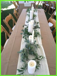 long table style with mixed bottle bud vases wedding table decor Organic Garden Centerpiece — Rose Of Sharon Floral Design Studio Outdoor Wedding Decorations, Wedding Table Centerpieces, Wedding Flower Arrangements, Flower Centerpieces, Wedding Bouquets, Centerpiece Ideas, Buffet Wedding, Outdoor Weddings, Long Wedding Tables