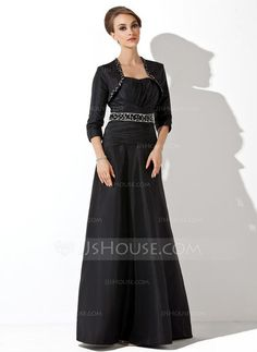 Empire Sweetheart Floor-Length Taffeta Mother of the Bride Dress With Ruffle Beading Sequins (008006092) - JJsHouse