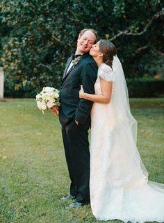 Sweet & Happy Looking Couple! Love The Bride's Beautiful Waltz Length Veil!