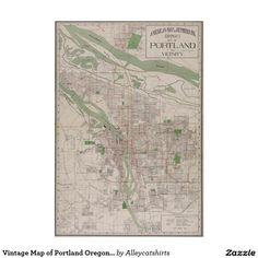 Vintage Map of Portland Oregon (1912) Poster