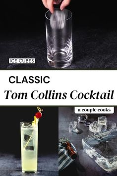 Tom Collins Cocktails, Classic Gin Cocktails, Gin Fizz Cocktail, Refreshing Cocktails, Fun Cocktails, Cherry Cocktails, Summer Drinks, Gin Drink Recipes, Gin Cocktail Recipes