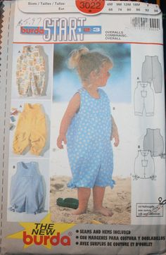 Burda 3022, Baby Romper, Baby Overalls, Baby Sun Suit, Toddler Romper, Toddler Overalls, Toddler Sun Suit, Size 6 months thru size 3, UNCUT