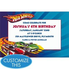 HOT WHEELS Candy Bar Wrappers Personalized and printable for Hot