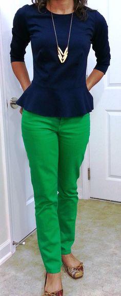 @Ann Taylor: Peplum Top. @J.Crew: Green Matchstick Jeans.