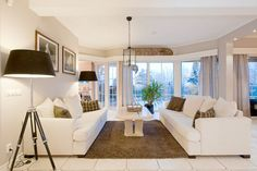 I love the combination of white and brown in this living room
