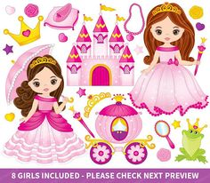 Princess Clipart - Vector Princess Clipart, Fairy Tale Clipart, African American Clipart, Little Princess Clipart, Princess Clip Art Little Princess, Princess Hat, Princess Castle, Clipart Baby, Mermaid Clipart, Castle Clipart, Nautical Clipart, Princess Carriage, Clip Art