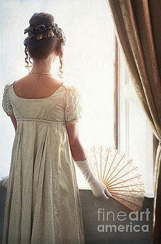 Regency Woman Looking Out Of The Window by Lee Avison