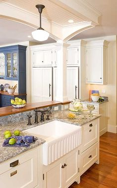 Idea of the Day: This luxury kitchen island includes an apron sink flan. Idea of the Day: This luxury kitchen island includes an apron sink flanked on both sides by two separate dishwasher drawers. (By Crown Point Cabinetry) Kitchen Island Ideas With Columns, Kitchen Island With Sink, Rustic Kitchen Island, Kitchen Islands, Kitchen Sinks, Kitchen Columns, Sink In Island, Kitchen Cabinets, Kitchen Interior