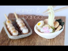▶ Ramen & Dango - Miniature Clay Bowl & Chopsticks Tutorial - YouTube