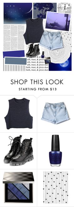 """Shoot for the Moon"" by karrine99 ❤ liked on Polyvore featuring мода, Once Upon a Time, WithChic, OPI, Burberry, Forum и Camp"