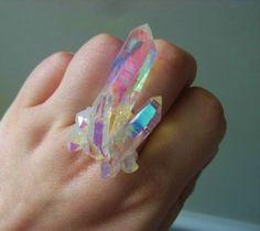 Stardust Ring -- Angel Aura Quartz