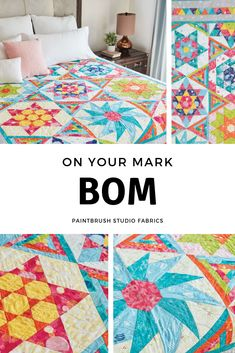 This bright and cheery quilt will add a touch of summer to your home year-round. The variety of shapes and different designs throughout the pattern make this quilt truly unique. A free monthly video showing techniques used in this block-of-the-month quilt is available to participants! (Fabric from the On Your Mark Collection by Paintbrush Studio.)