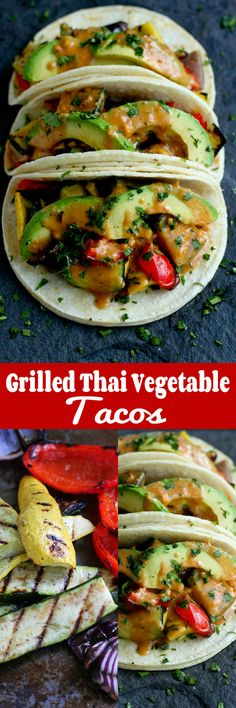 Grilled Thai Vegetable Tacos…One of the tastiest meatless meals you'll eat this summer! Also vegan and gluten free. 323 calories and 9 Weight Watchers SmartPoints