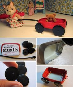 Altoid Tin Wagon.  Drill 4 holes in bottom of the tin. Paint w/several coats of red. Black tires are made from buttons.  Drill holes in them and glue them to the ends of a segment of wire.  Two sections of wire were pushed through the holes in the tin, allowing the tiny wheels to spin. Handle is a black zip-tie.  Before painting  tin, glue sewing pin (bent into a rectangle) to front of wagon creating a small ring.  The zip-tie was glued to ring.