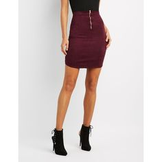 Charlotte Russe Faux Suede Pencil Skirt ($20) ❤ liked on Polyvore featuring skirts, plum, shiny skirt, bodycon pencil skirt, charlotte russe skirts, high waisted knee length skirt and charlotte russe