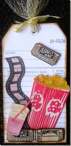 Showtime ~ Movie / Show Memories ~ Tickets, Popcorn, Film Strip, Drink, Checkout  Card ~ Scrapbook, SMASH book, Journal, Travel Journal, Project Life, Gift Tag