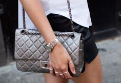 Leather shorts + Chanel