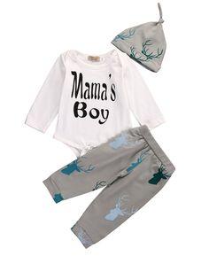 3PCS Set Newborn Baby Girl Boy Tops Romper +Long Pants Hat Outfits Clothes 0-18M newborn clothes clothing set for babies 2017 #Affiliate