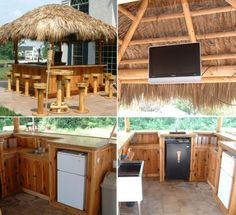 Tiki Hut - I like the idea of the tv but would want it in a very weather resista. Tiki Hut - I lik Pool Bar, Deck Bar, My Pool, Outside Living, Outdoor Living, Outdoor Decor, Outdoor Tiki Bar, Outdoor Bars, Outdoor Stuff