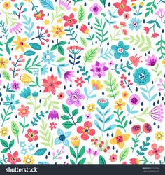 """Cute Floral pattern in the small flower. """"Ditsy print"""". Motifs scattered random. Seamless vector texture. Elegant template for fashion prints. Printing with small colorful flowers. White background."""