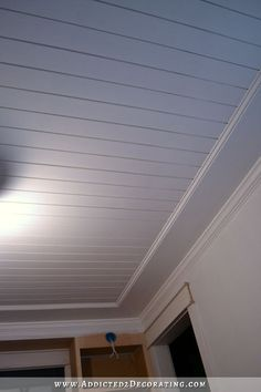 To Install A Wood Plank Ceiling Planked Faux-Tray Ceiling DIY Use barn wood instead in area approximately to over dining room table.Planked Faux-Tray Ceiling DIY Use barn wood instead in area approximately to over dining room table. Wood Plank Ceiling, Shiplap Ceiling, Home Ceiling, Wood Ceilings, Ceiling Decor, Wood Planks, Ceiling Ideas, Bead Board Ceiling, Painted Wood Ceiling