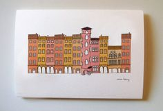Illustration du Vieux Lyon carte illustration / Emma Lidbury