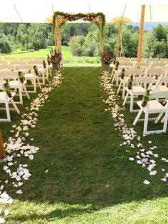 tent for ceremony, I think a tent would be easy and nice, especially for outdoors on a sunny day