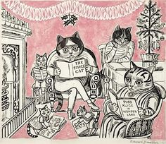 Happy Christmas to all the Fellowship. Christmas Cats by Edward Bawden 1961 Pen & Ink, Watercolour & Collage
