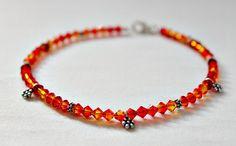 Orange Bridesmaid Jewelry,Orange Wedding Jewelry,Fire Opal Swarovski Crystals Bali Sterling Silver Anklet,Orange Anklet,Bridesmaid Dress by LeaningTreeDesigns on Etsy