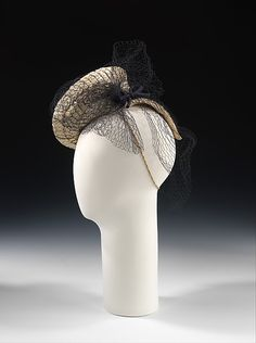 Sally Victor | Hat | American | The Met 1938 Medium: paper, synthetic, silk Dimensions: 8 1/2 x 10 in. (21.6 x 25.4 cm
