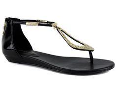 BCBGeneration Women's Astoria Wedge Thong Sandals Black Patent Sz 8 Pre-owned #BCBGeneration #TStrap #DressorCasual