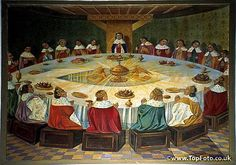 Painting of King Arthur's Knights at the Round Table with the Holy Grail in Trehorenteuc Church Forest of Broceliande Ille-et-Vilaine Brittany France King Arthur Legend, Legend Of King, King Arthur's Knights, Mists Of Avalon, Medieval, Roi Arthur, First Knight, Dragon, Name Art