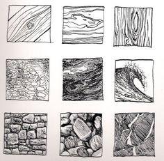 Ink Drawing Kinnon Elliott Illustration: Pen and Ink Texture Thumbnails Texture Drawing, Texture Sketch, Pencil Texture, Art Worksheets, Ink Drawings, Art Graphique, Pen Art, Drawing Techniques, Rendering Techniques