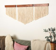 Complete your wall space with this unique, urban boho handmade chevron fiber wall art set. Each piece has been hand crafted using solid pine wood then stained with a dark brown finish that highlights it's true wood grain. Each dark brown wood Yarn Wall Art, Diy Wall Art, Wooden Wall Art, Macrame Wall Hanging Diy, Hanging Wall Art, Chevron Art, Chevron Walls, Mur Diy, Diy Home Decor