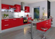 10 red kitchen that give decorating ideas intérieur rouge et blanc Decor, Kitchen Furniture, Remodel, Kitchen Remodel, Kitchen Decor, Modern Kitchen, Home Decor, Retro Kitchen, Kitchen Design