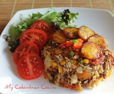 Arroz Criollo or Creole Rice. Colombian Dishes, Colombian Cuisine, Colombian Recipes, Cuban Recipes, Rice Dishes, Food Dishes, Main Dishes, Comida Latina, Vegetarian Recipes
