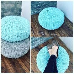 MJ's Textured Floor Pouf by MJ's Off The Hook Designs