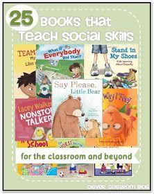 A list of 25 books that teach social skills; from preschool through elementary.