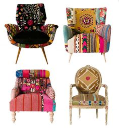 these vintage-fabric-covered chairs are flippin' fabb!